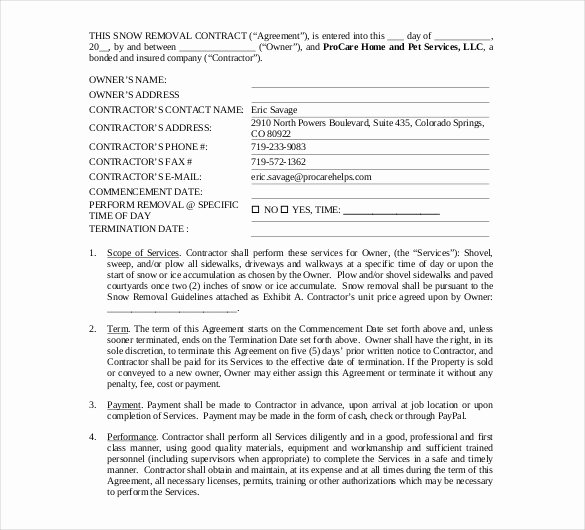 Snow Removal Contract Template Beautiful 20 Snow Plowing Contract Templates Google Docs Pdf