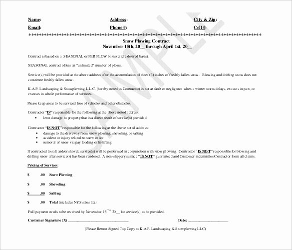 Snow Removal Contract Template Elegant 20 Snow Plowing Contract Templates Google Docs Pdf