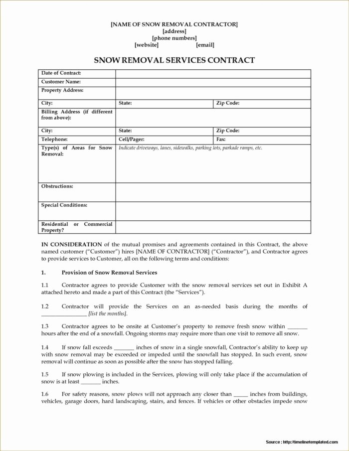 Snow Removal Contract Template Fresh Snow Plowing Contract forms Free form Resume Examples