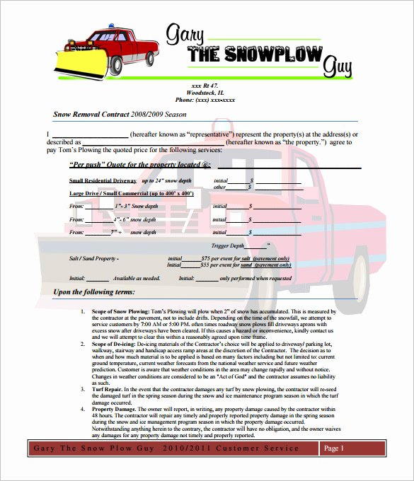 Snow Removal Contract Template New 20 Snow Plowing Contract Templates Google Docs Pdf