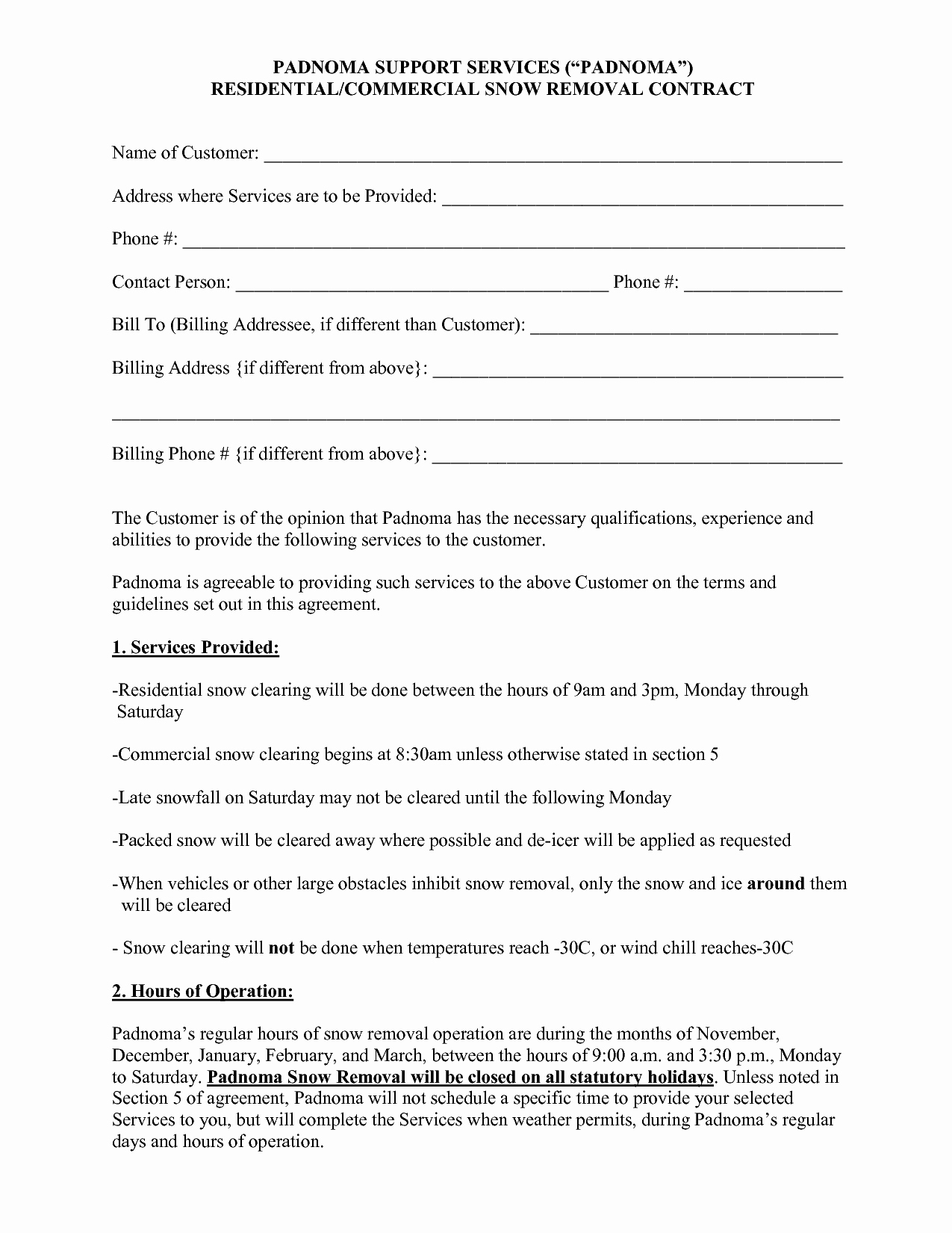 post snow plow proposal forms