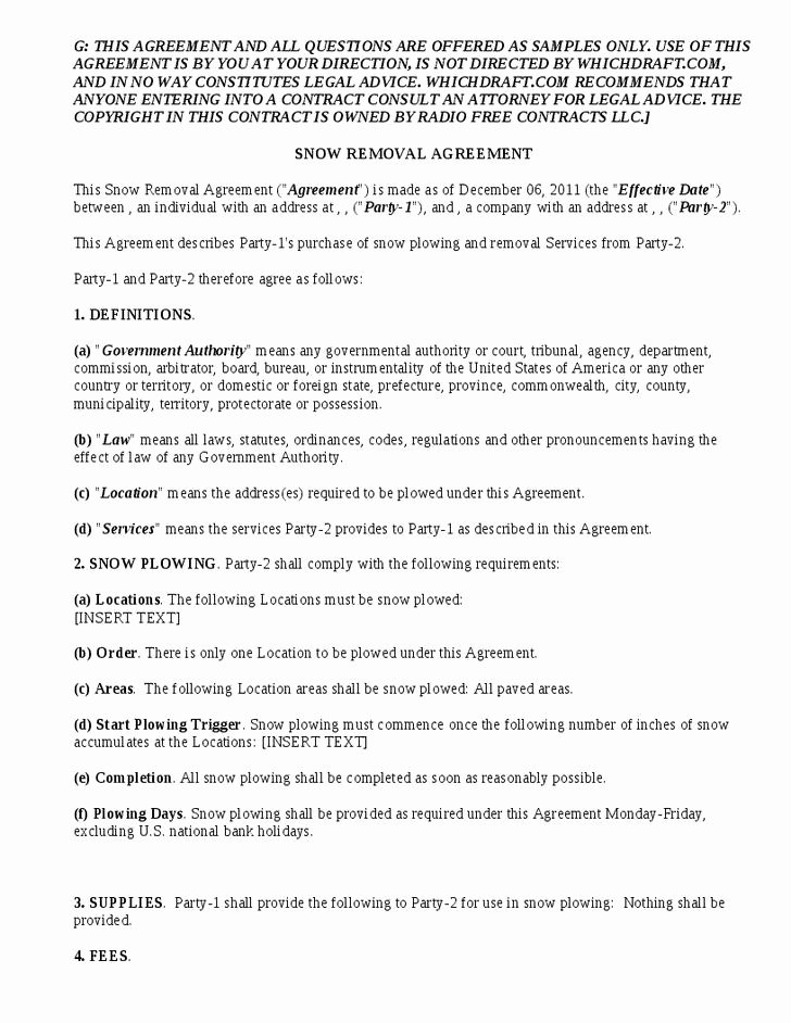Snow Removal Contracts Template Lovely 20 Snow Plowing Contract Templates Free Download