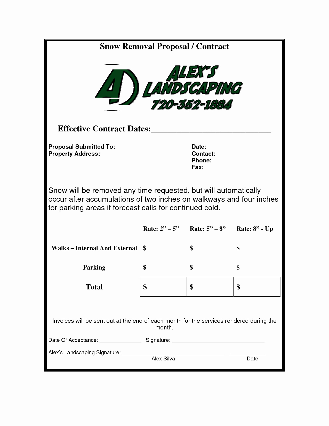 Snow Removal Contracts Template New 5 Best Of Snow Removal Invoice Template Snow