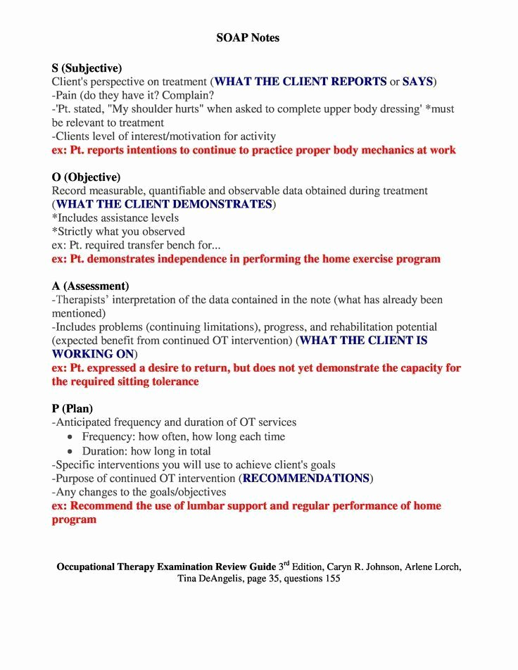 Soap Note Template Counseling Elegant soap Notes Occupational therapy Examination Review Guide