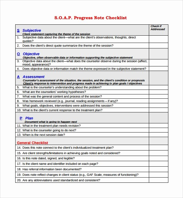 Soap Progress Notes Template Luxury 10 Progress Notes Templates