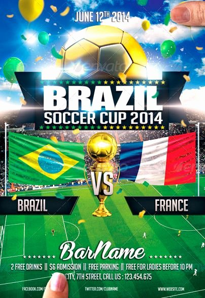 Soccer Flyer Template Free Best Of Brazil soccer Cup 2014 Flyer Template Lyer