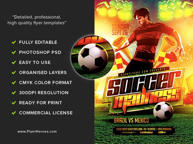 Soccer Flyer Template Free Best Of soccer Madness Flyer Template Flyerheroes