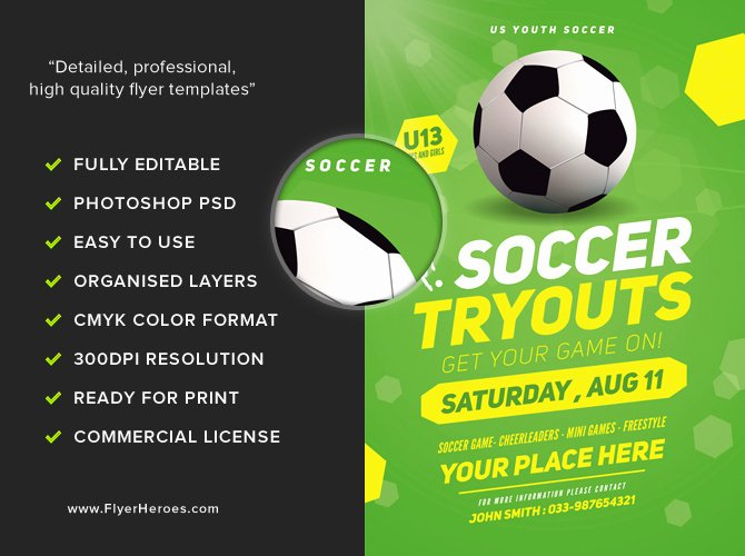 Soccer Flyer Template Free Fresh soccer Tryouts Flyer Template Flyerheroes