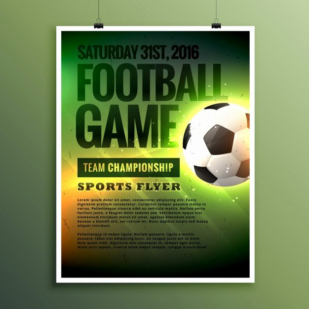 Soccer Flyer Template Free Unique Football Game Flyer Template Vector