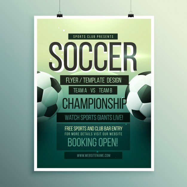 Soccer Flyer Template Free Unique soccer tournament Brochure Template Vector