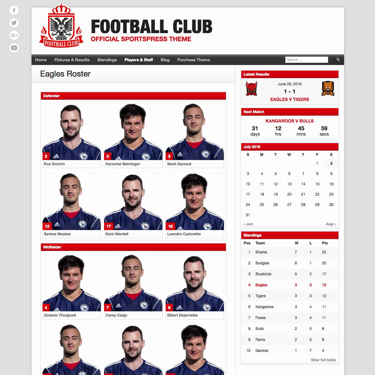 Soccer Player Profile Template New Football Club soccer Team Wordpress theme themeboy