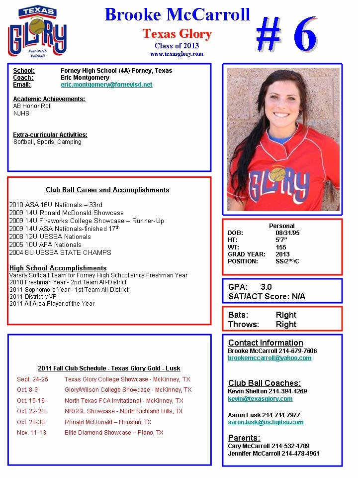Soccer Player Profiles Template Best Of Downloadable softball Profile Sheet Templates to