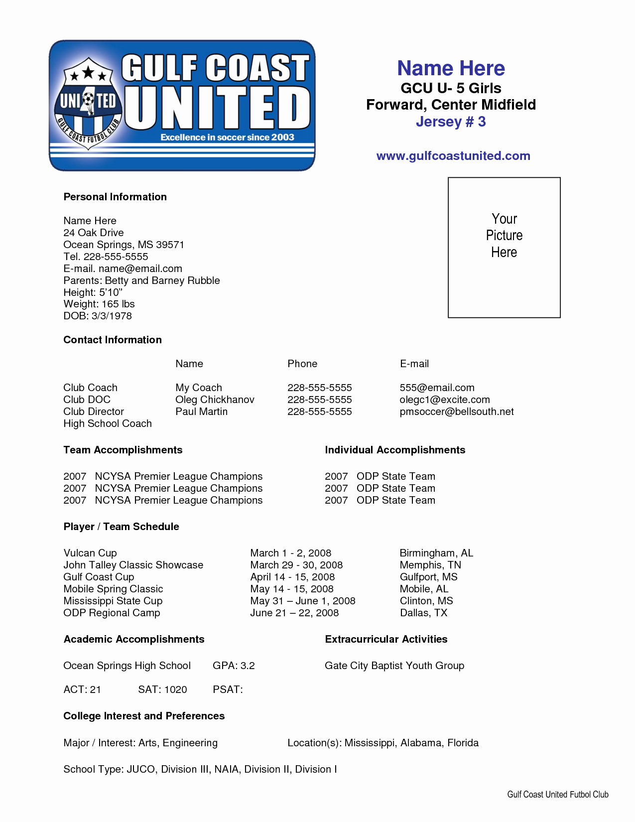 Soccer Player Profiles Template Fresh Sample soccer Resume Places to Visit