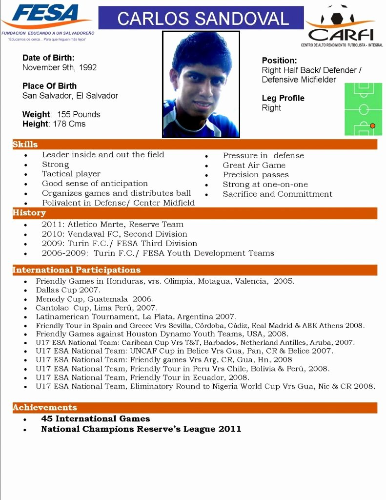 Soccer Player Profiles Template Inspirational Fesa Player Profile for College Coaches Carlos Sandoval