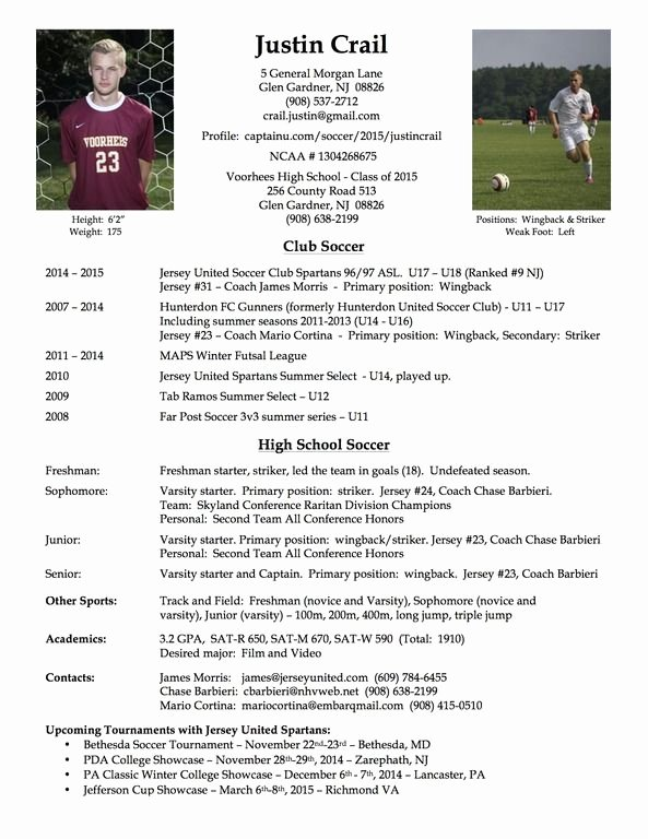 Soccer Player Profiles Template New College soccer Player Resume soccer
