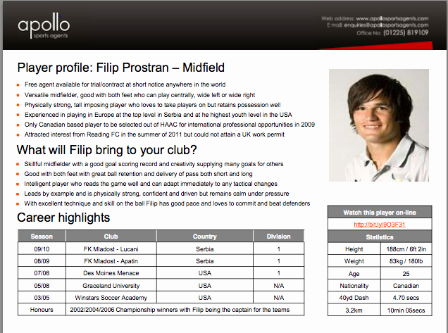 Soccer Player Profiles Template New soccer Agent Contact List
