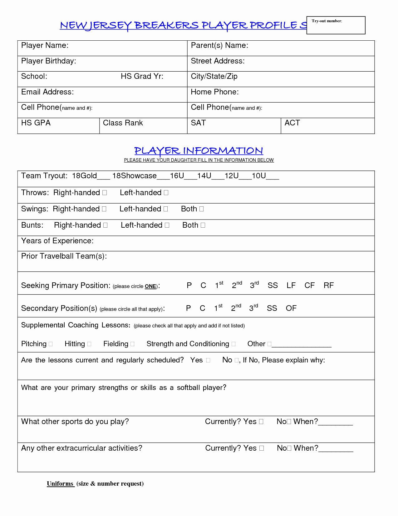 Soccer Player Profiles Template Unique 16 Of Blank Profile Template softball