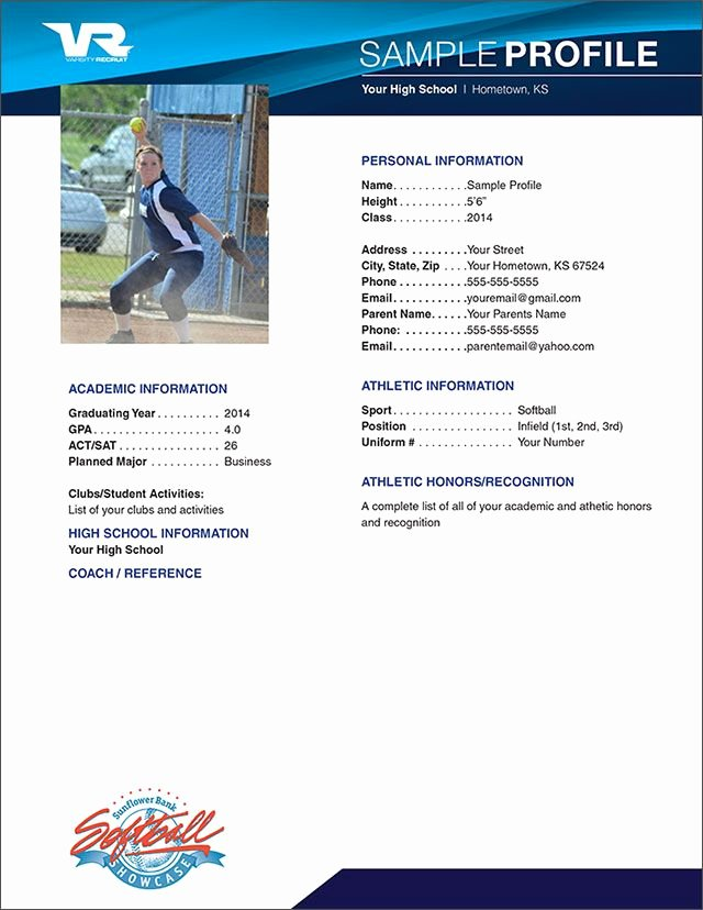 Soccer Player Profiles Template Unique softball Profile Sample Sample Profile