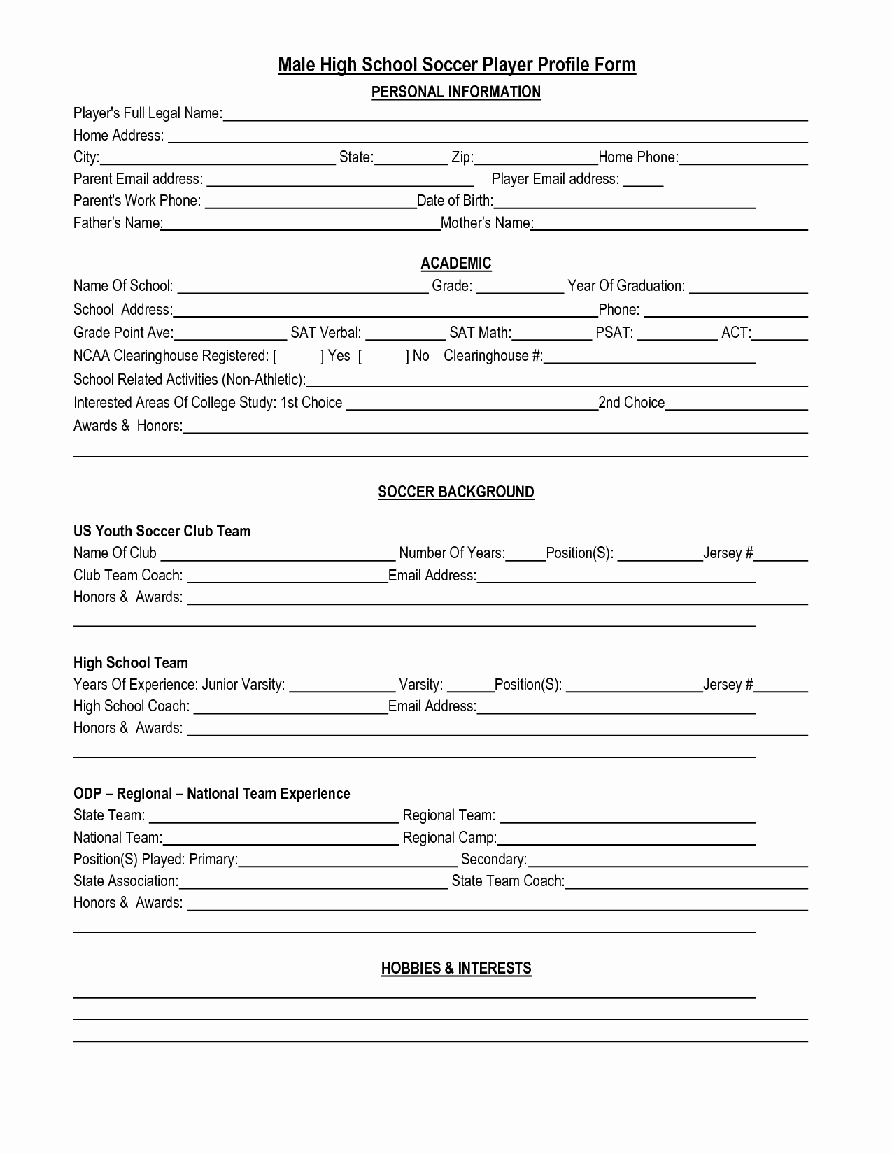 Soccer Players Profile Template Awesome Best S Of High School Player Profile Template