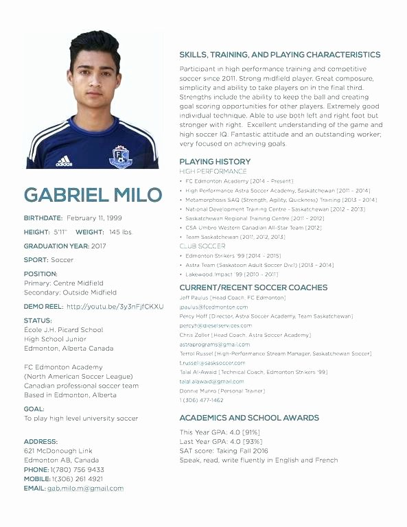Soccer Players Profile Template Awesome Outline for A Resume Best Awesome Resident assistant