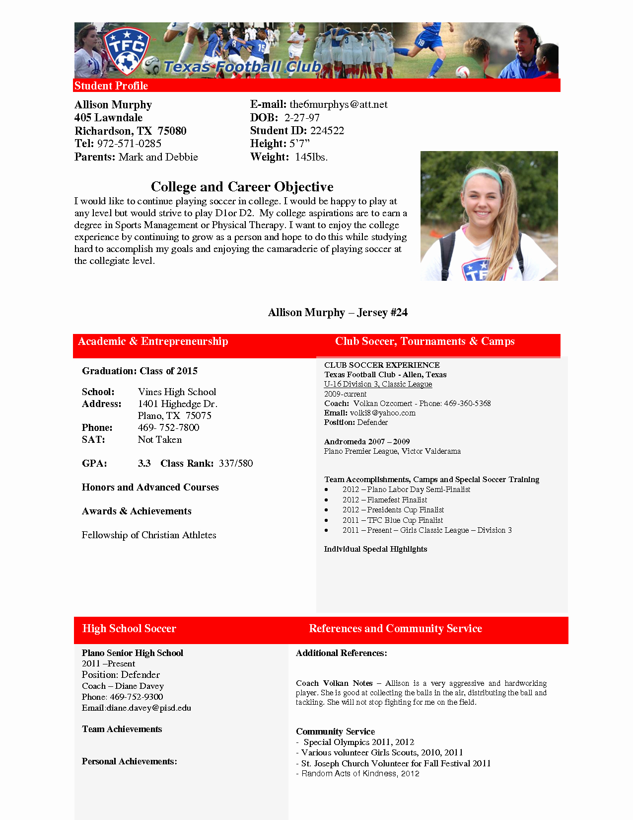 Soccer Players Profile Template Inspirational 28 Of High School soccer Player Profile Template