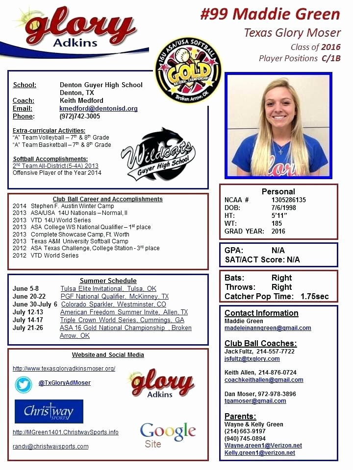Soccer Players Profile Template Luxury College softball Profile Template Sports Post High School