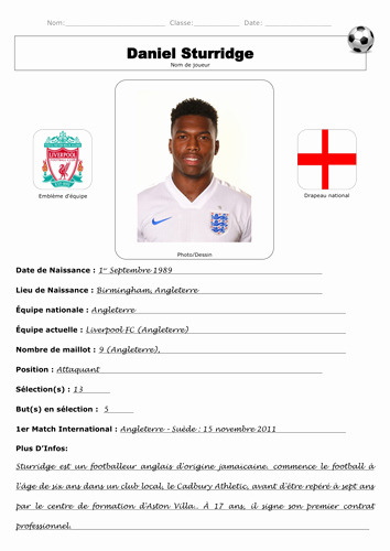 Soccer Players Profile Template Luxury French Footballer Profile by Lmd Teaching
