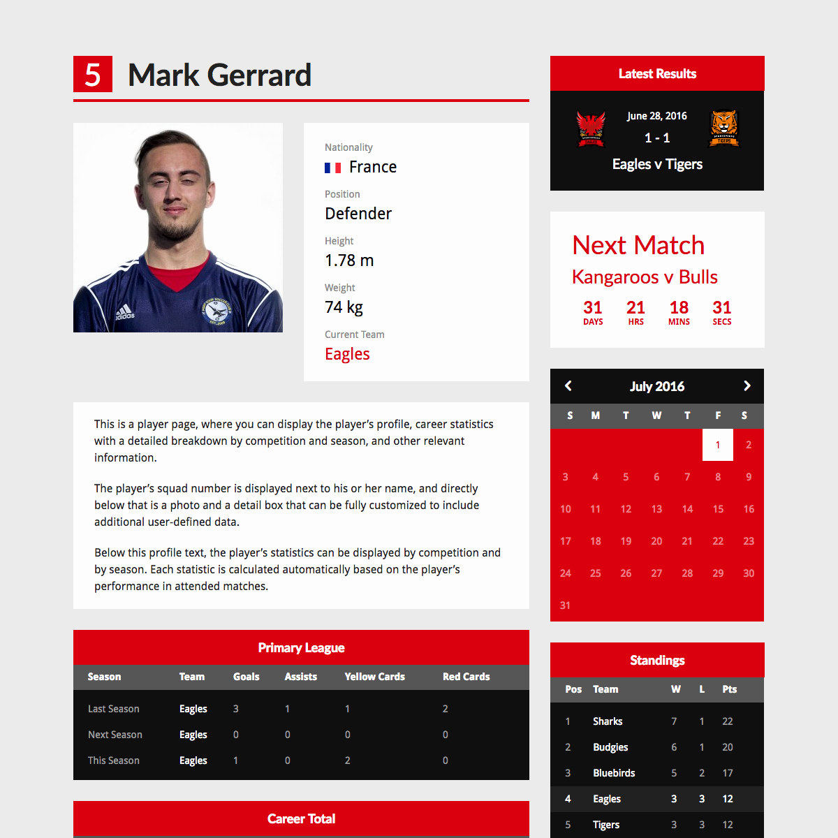 Soccer Players Profile Template Luxury Premier Wordpress Sports theme for Clubs themeboy