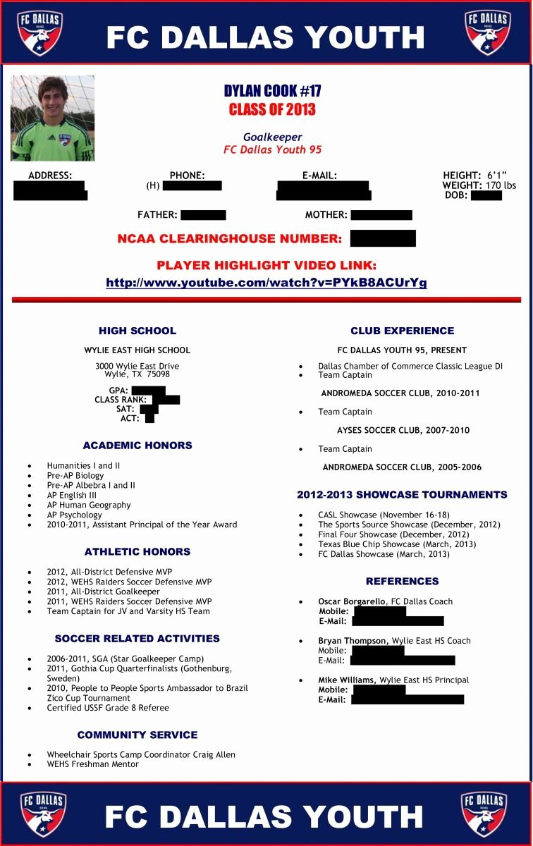 Soccer Players Profile Template New soccer Player Profile Sample 1