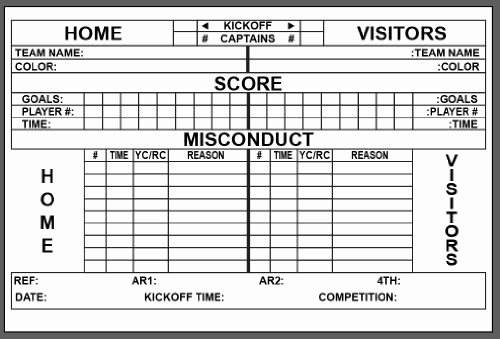 Soccer Score Sheet Template Inspirational Score Sheet for soccer 2018