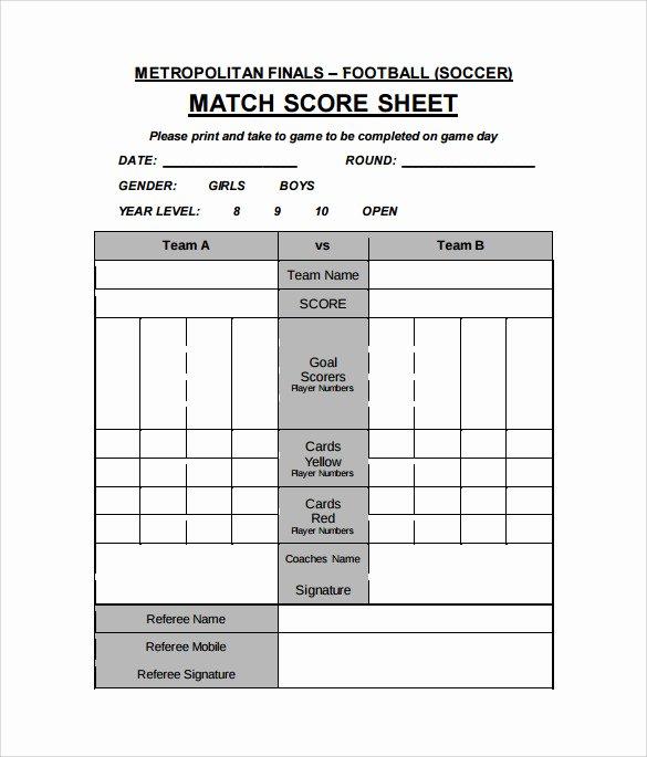 Soccer Score Sheet Template Luxury 10 Sample Football Score Sheet Templates