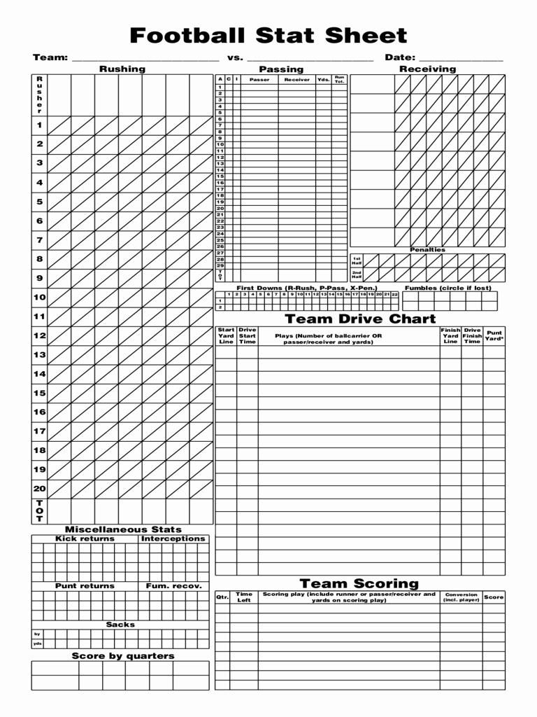 Soccer Score Sheet Template New 2018 Football Score Sheet Fillable Printable Pdf
