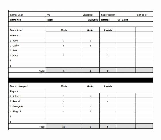 Soccer Score Sheet Template New Sample Football Score Sheet Sarahepps