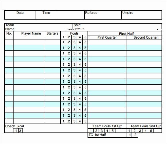 Soccer Score Sheet Template Unique Basketball Score Sheet 2019