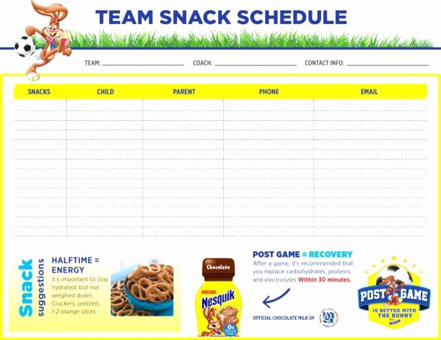 Soccer Snack Schedule Template Beautiful Printable Email Sheet Full Size Medium Snack Sign