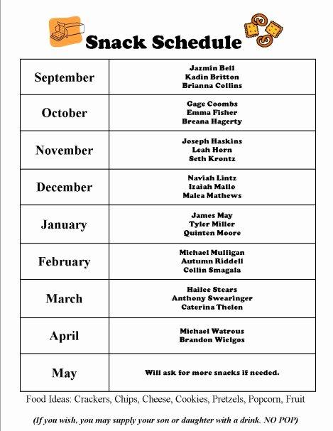 Soccer Snack Schedule Template Unique Team Snack Schedule Evolist