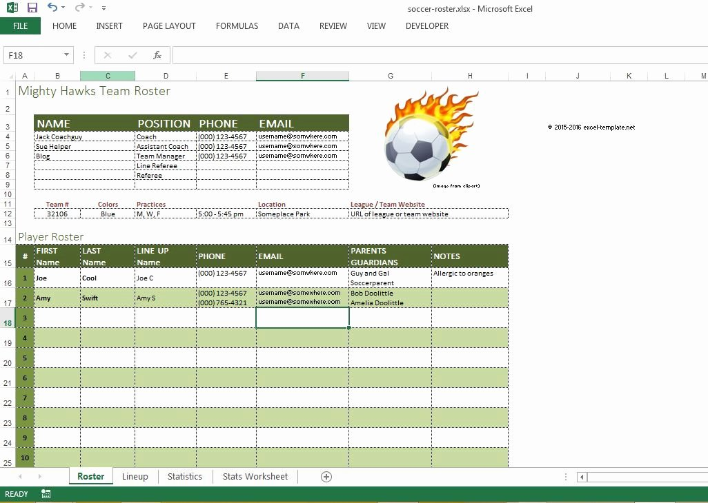 Soccer Team Roster Template Best Of soccer Roster Free Excel Template