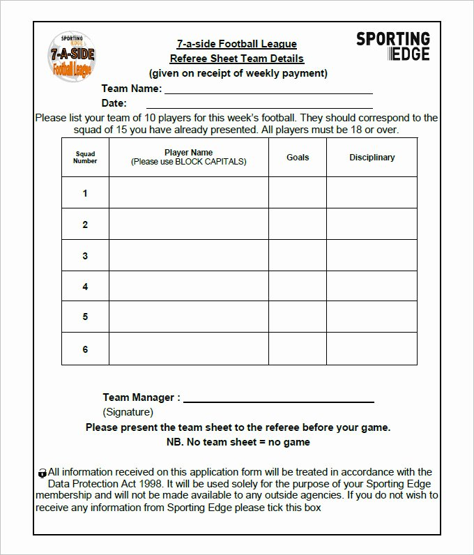 Soccer Team Roster Template Fresh Football Team Sheet Template 4 Pdf
