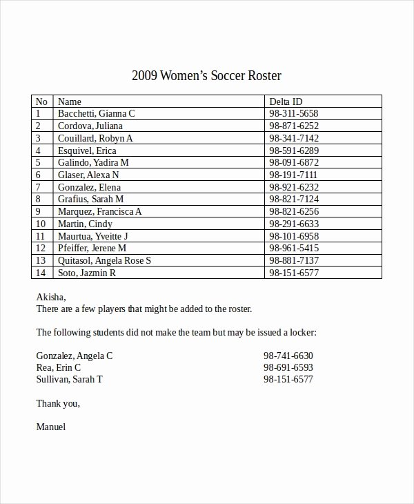 Soccer Team Roster Template Lovely Roster Template 8 Free Word Excel Pdf Document