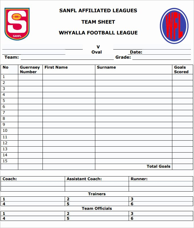 Soccer Team Roster Template Luxury Football Team Sheet Template 4 Pdf