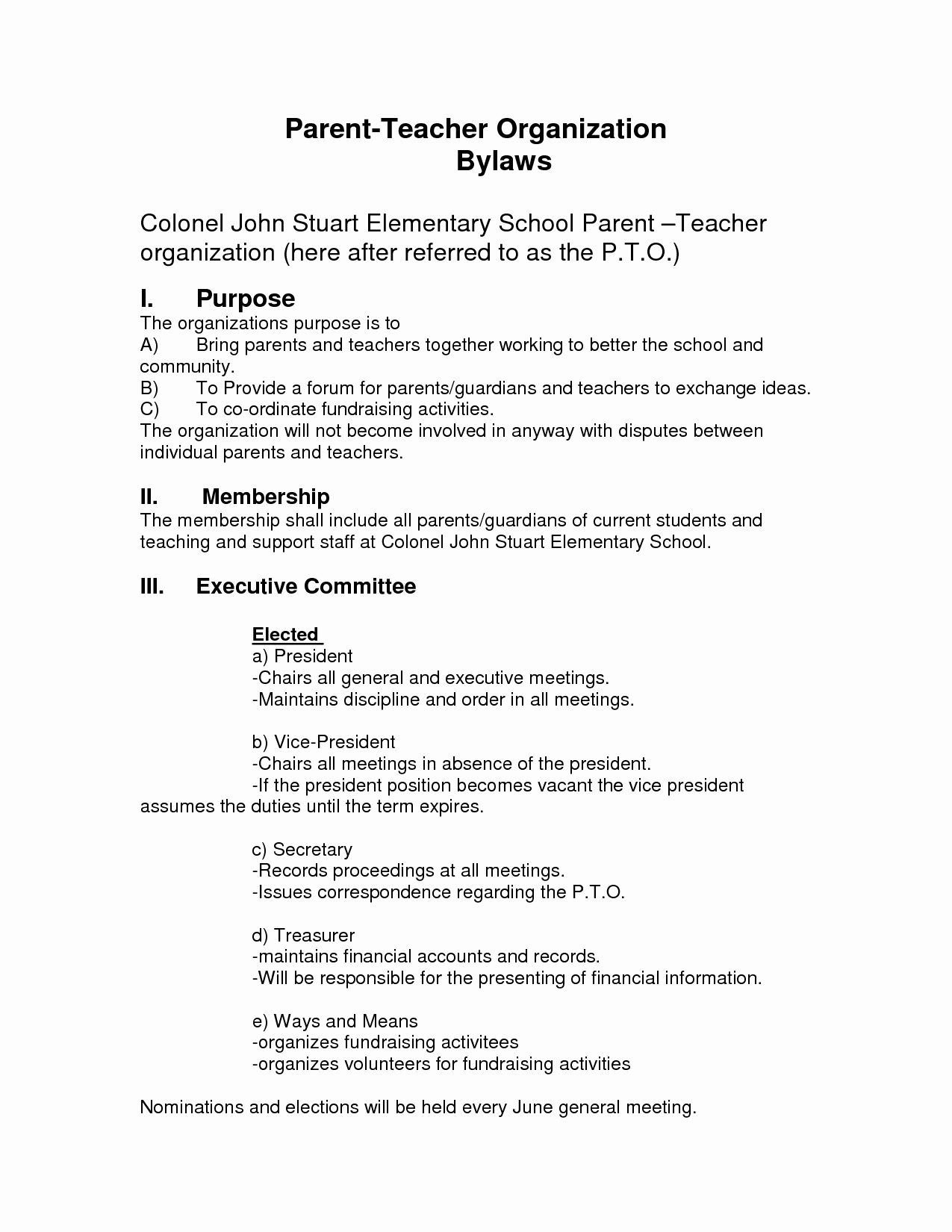 Social Club bylaws Template New Best S Of Pto bylaws Template Sample Bereavement