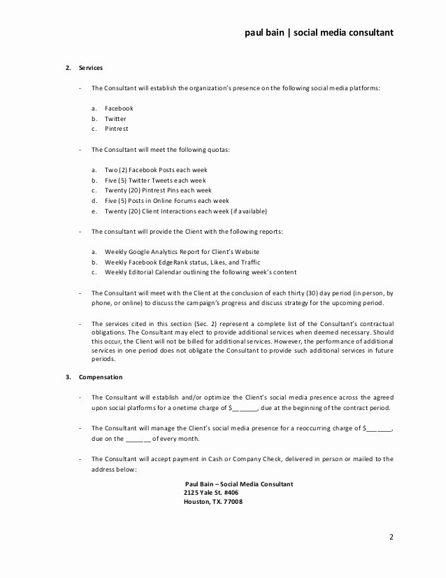Social Media Contract Template Awesome social Media Consulting Services Contract