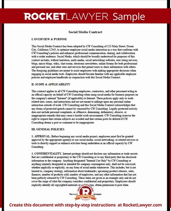 Social Media Contract Template Beautiful social Media Contract Pany social Media Contract for