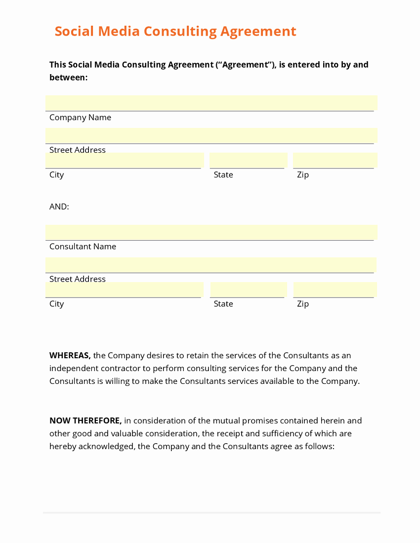 Social Media Contract Template Best Of Business form Template Gallery