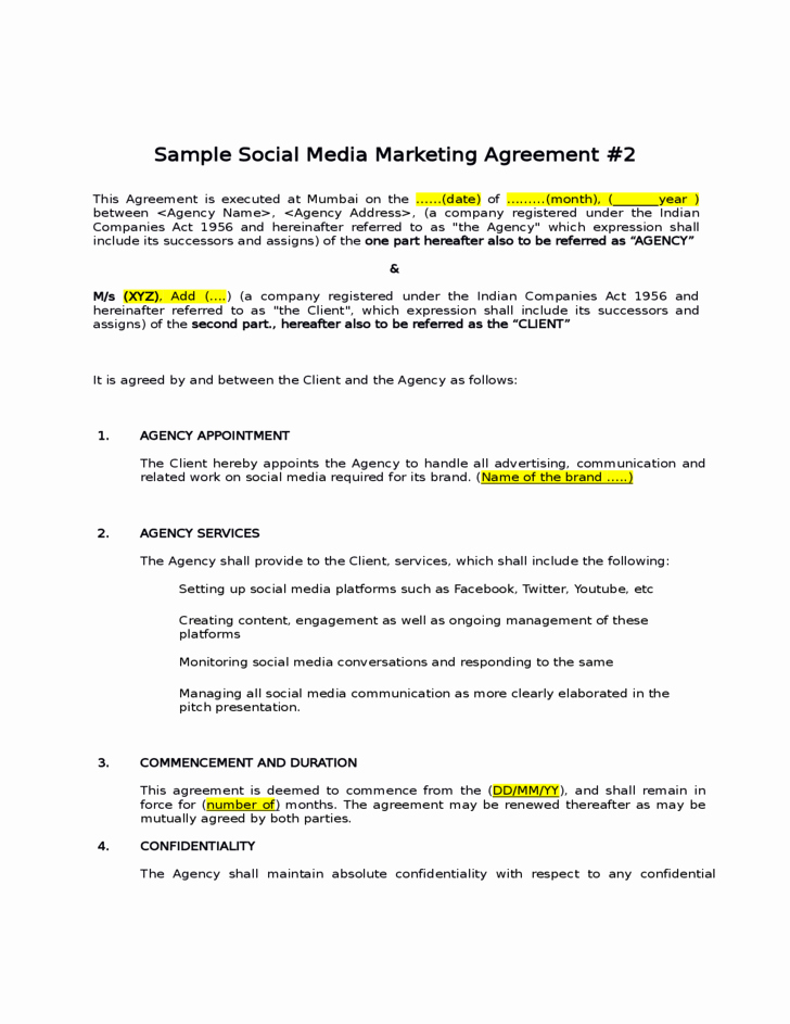 Social Media Contract Template Elegant 4 social Media Contract Templates Word Excel Templates