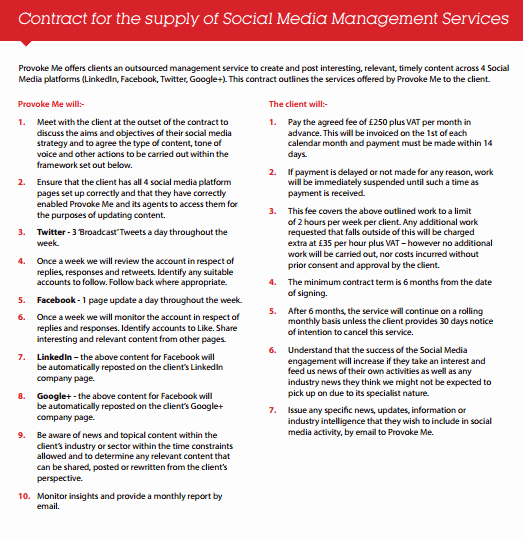 Social Media Contract Template Lovely social Media Contract Templates Find Word Templates
