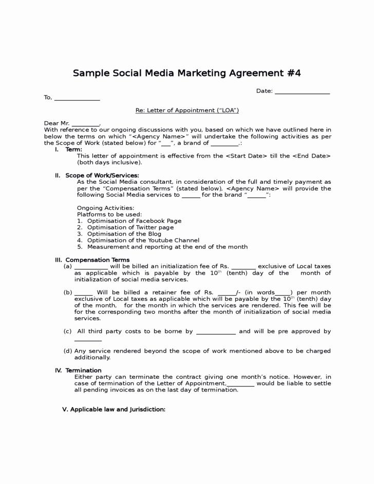 Social Media Contract Template Lovely social Media Contract Templates Word Excel Samples