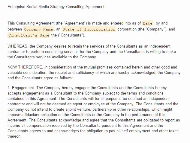 Social Media Contract Template Unique social Media Contract Templates Find Word Templates