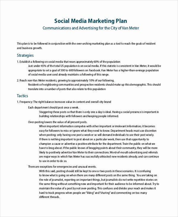 Social Media Proposal Template Awesome 8 Sample social Media Marketing Plans