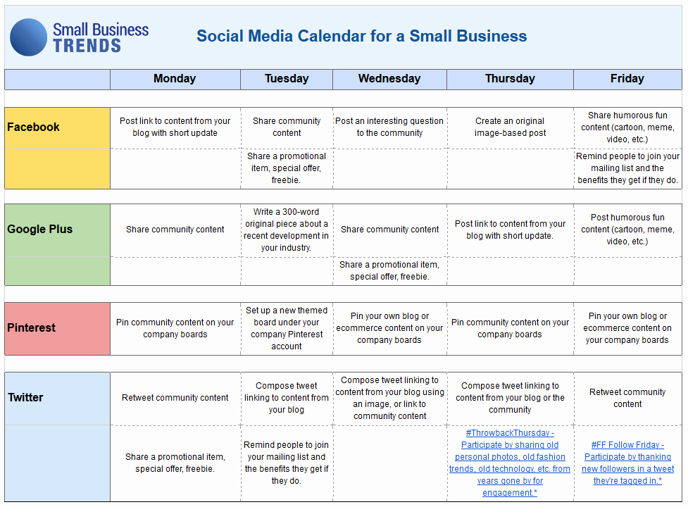 Social Media Proposal Template Elegant social Media Calendar Template for Small Business